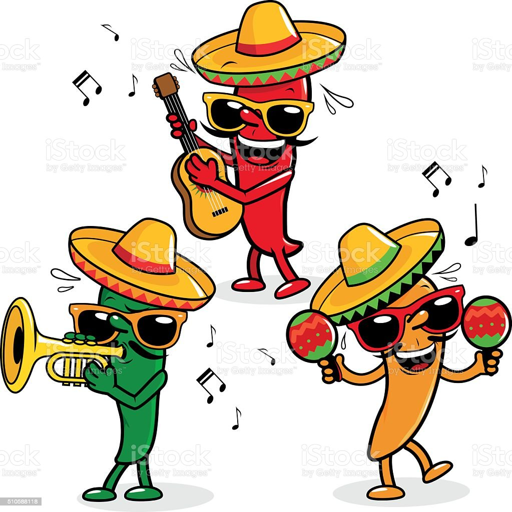 Cartoon hot mariachi peppers vector art illustration
