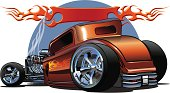 Cartoon hotrod with flame paint, and banner above