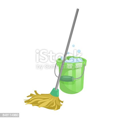 istock Cartoon house and apartment cleaning service icon. Old dry mop with handle and green plastic bucket with bubbles. Simple colors and gradient vector illustration. 848114960