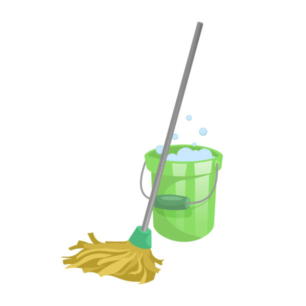 Cartoon house and apartment cleaning service icon. Old dry mop with handle and green plastic bucket with bubbles. Simple colors and gradient vector illustration. vector art illustration