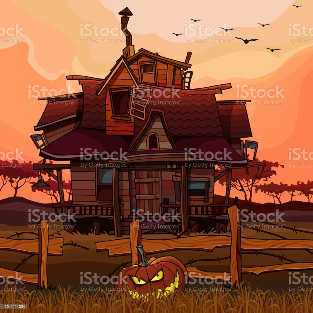 cartoon house at sunset with a Halloween pumpkin next to the fence vector art illustration