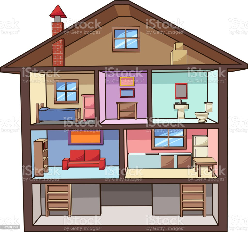 Cartoon House Interior Stock Vector Art & More Images Of