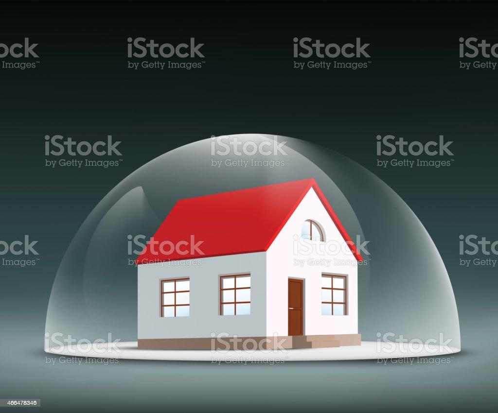Cartoon house sitting inside a clear dome vector art illustration