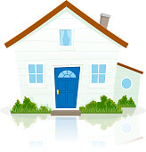 Vector illustration of a cartoon simple house on white background with reflect on the ground. File is EPS10 and uses multiply transparency at 100% for house's shadow, and default transparency at 20% for house's reflection. Vector eps and high resolution jpeg files included