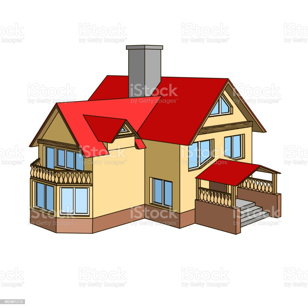 Cartoon House With A Gable Roof Stock Illustration Download Image Now Istock