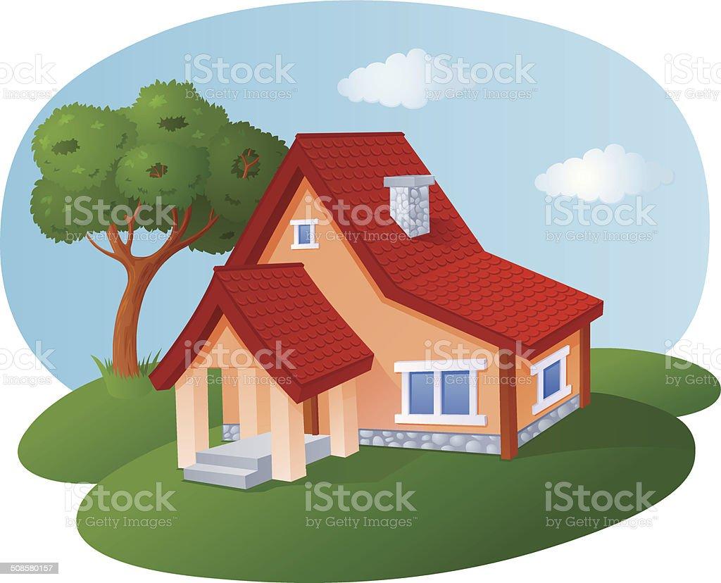 Fumetto di casa con un tetto in piastrelle immagini vettoriali