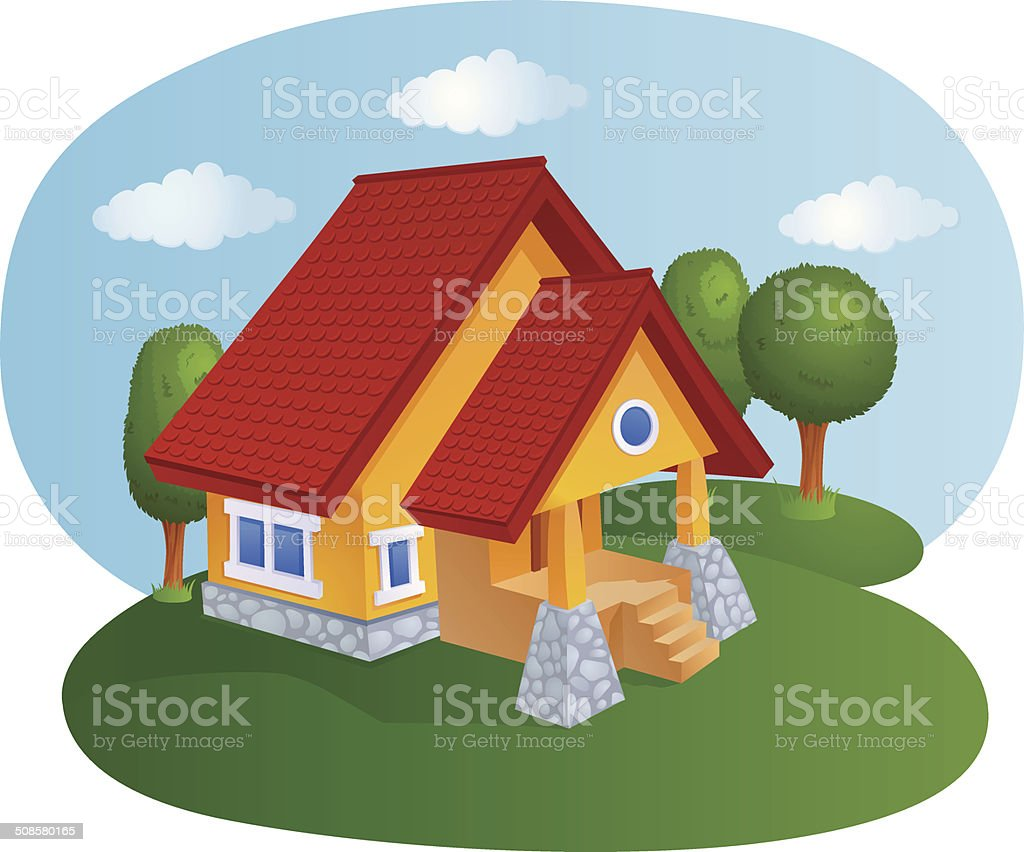 Cartoon house with a tiled roof vector art illustration