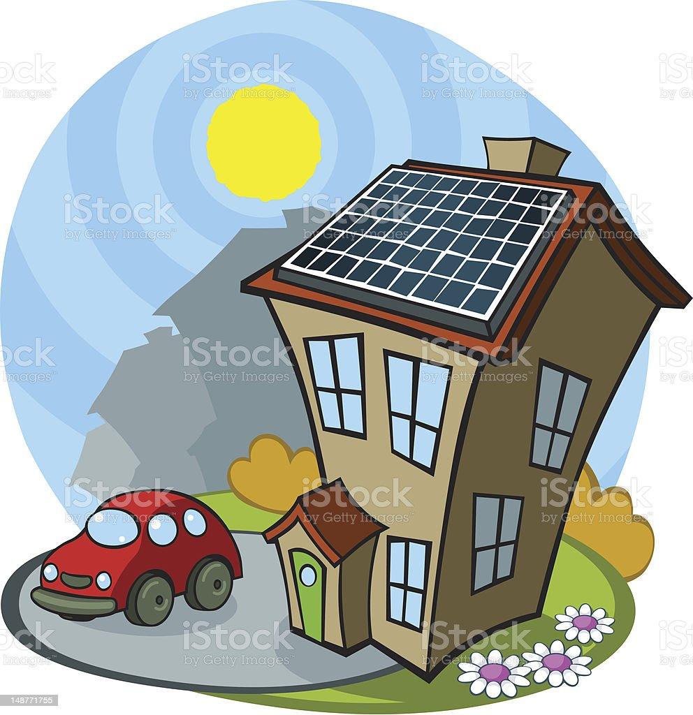 Comic Haus Mit Solar Panel Lizenzfreies Comic Haus Mit Solarpanel Stock  Vektor Art Und Mehr