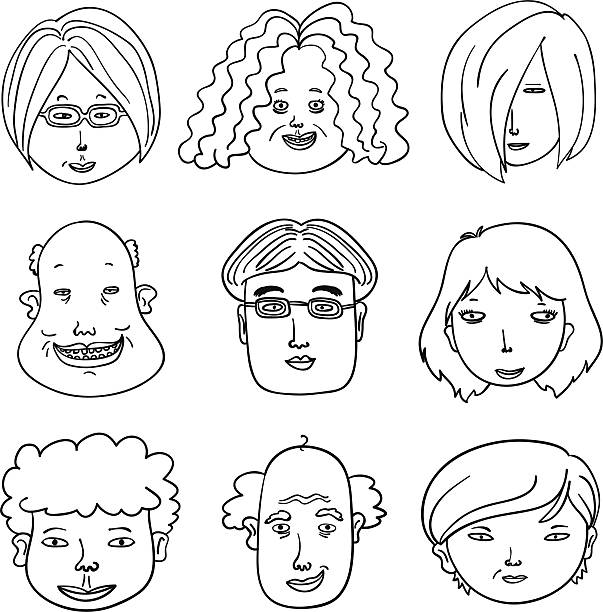 cartoon human faces in black and white - old man hair stock illustrations, clip art, cartoons, & icons