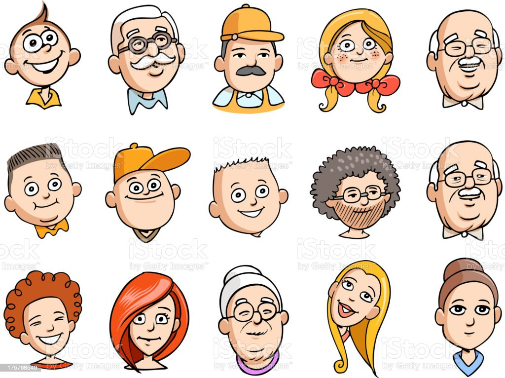 cartoon human faces vector art illustration