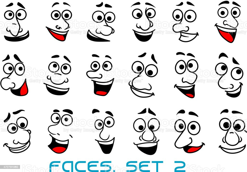 Cartoon human faces with happy emotions vector art illustration