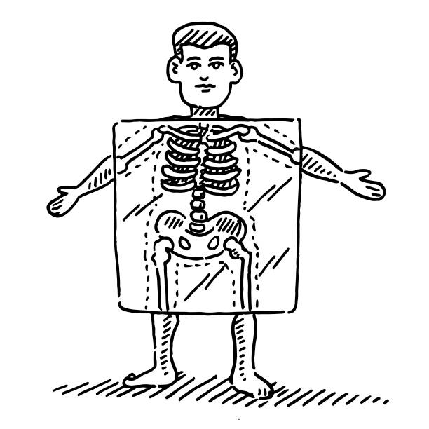 Cartoon Human Figure X-Ray Skeleton Drawing Hand-drawn vector drawing of a X-Ray Skeleton of a Cartoon Human Figure. Black-and-White sketch on a transparent background (.eps-file). Included files are EPS (v10) and Hi-Res JPG. cartoon character figure stock illustrations