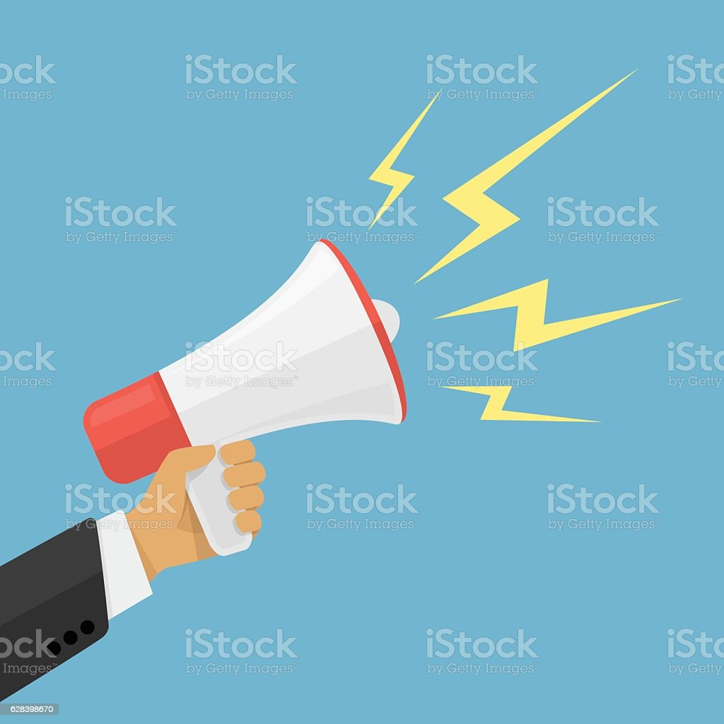 Cartoon human hand holding megaphone. vector art illustration