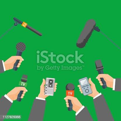istock Cartoon Human Hand Holding Mic Set. Vector 1127625355