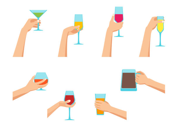 cartoon human hands holding glasses set. vector - trzymać stock illustrations