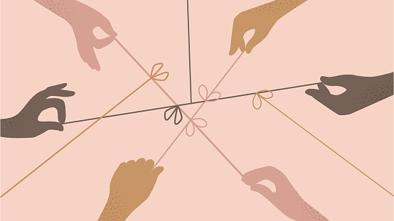 Cartoon human hands pulling on strings trying untie simple knots top view isolated. Team of different people arms collaborating together vector flat illustration. Concept of resolving problems easily