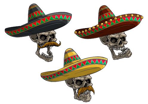 Cartoon human skulls in mexican sombrero hat