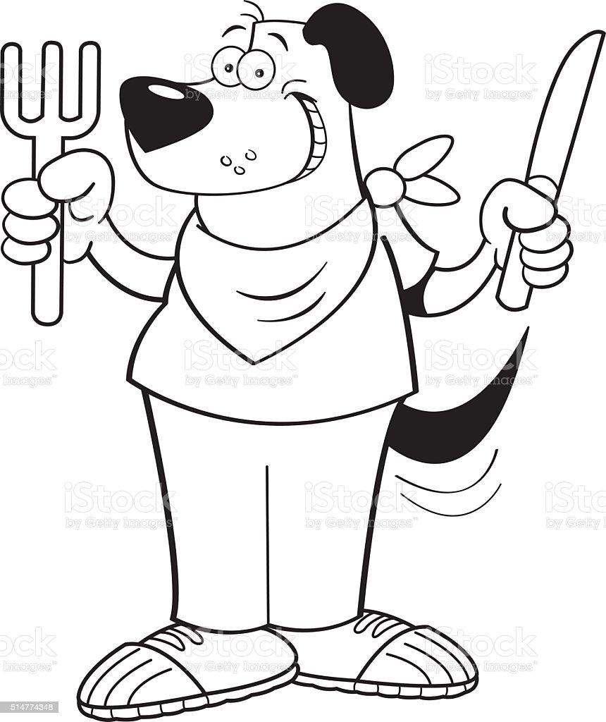 Faim de chien de dessin animé tenant un couteau et fourchette. - Illustration vectorielle