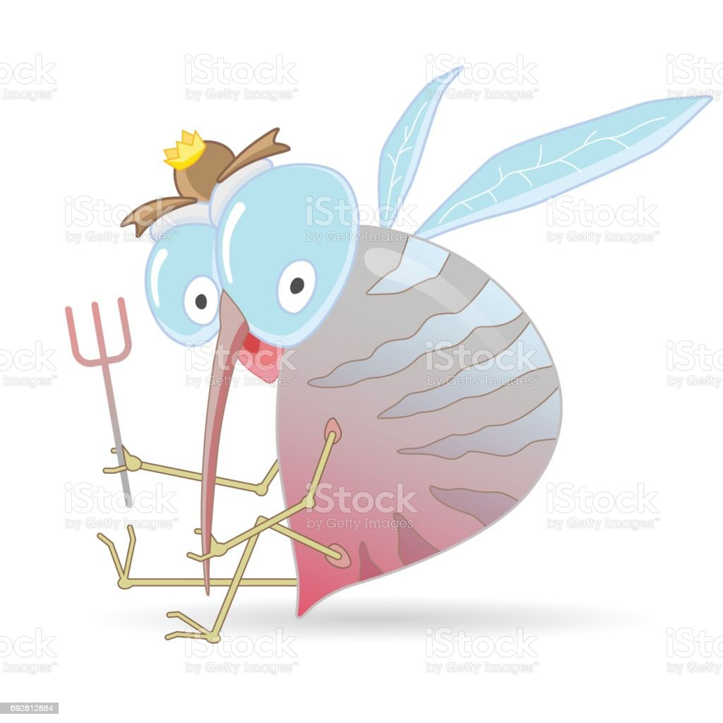 Cartoon hungry mosquito holding fork. Cartoon vector illustration. vector art illustration