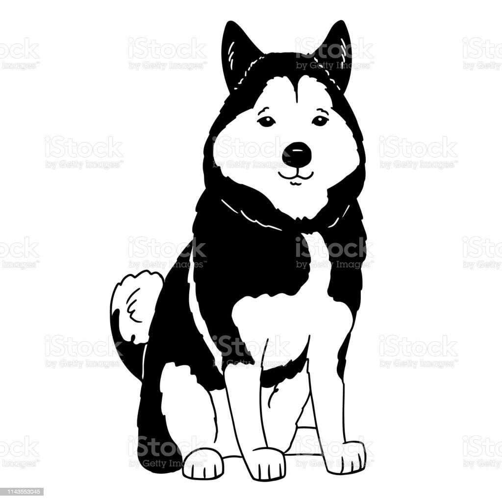 Ilustración De Logotipo Husky De Dibujos Animados Retrato De