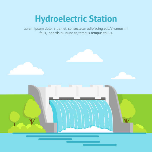 Cartoon Hydroelectric Station on a Landscape Background Card Poster. Vector vector art illustration