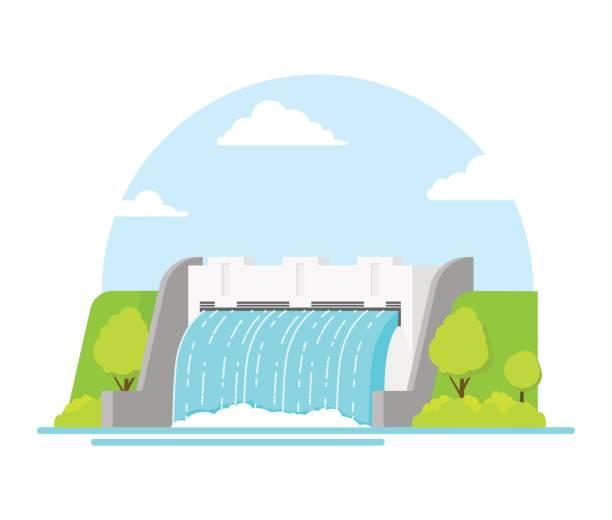 cartoon hydroelectric station on a landscape background. vector - энергия воды stock illustrations