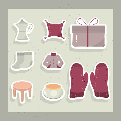 cartoon hygge winter mittens sweater cushion gift and socks icons set