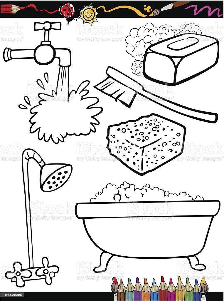Ilustración de Página Para Colorear De Historieta Objetos De Higiene ...