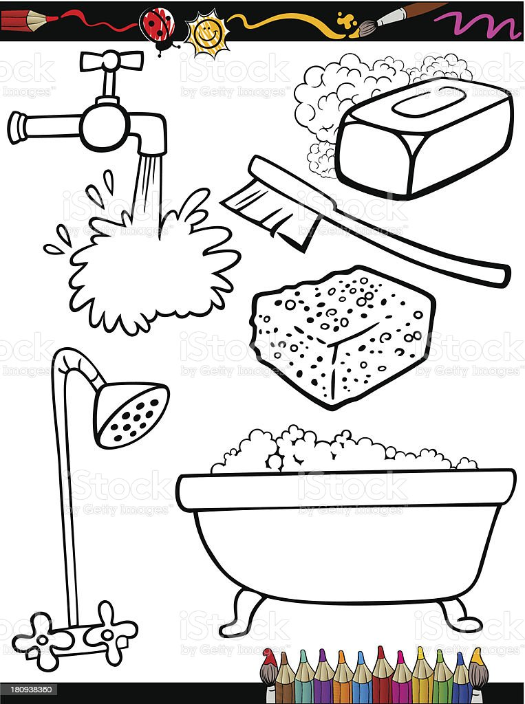 cartoon hygiene objects coloring page vector art illustration