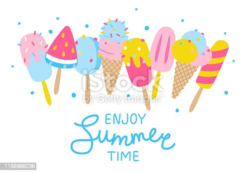 Multicolored cartoon ice cream of different shapes in a row on a white background with the inscription