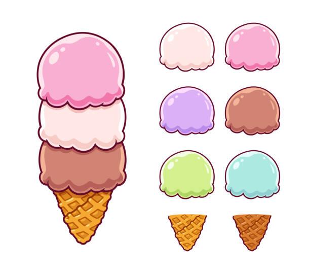 stockillustraties, clipart, cartoons en iconen met cartoon ice cream set - vanille roomijs