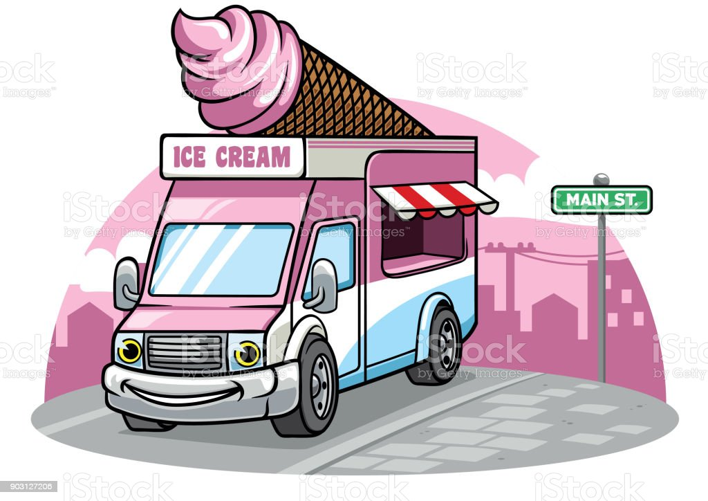 cartoon ice cream van illustration vector art illustration