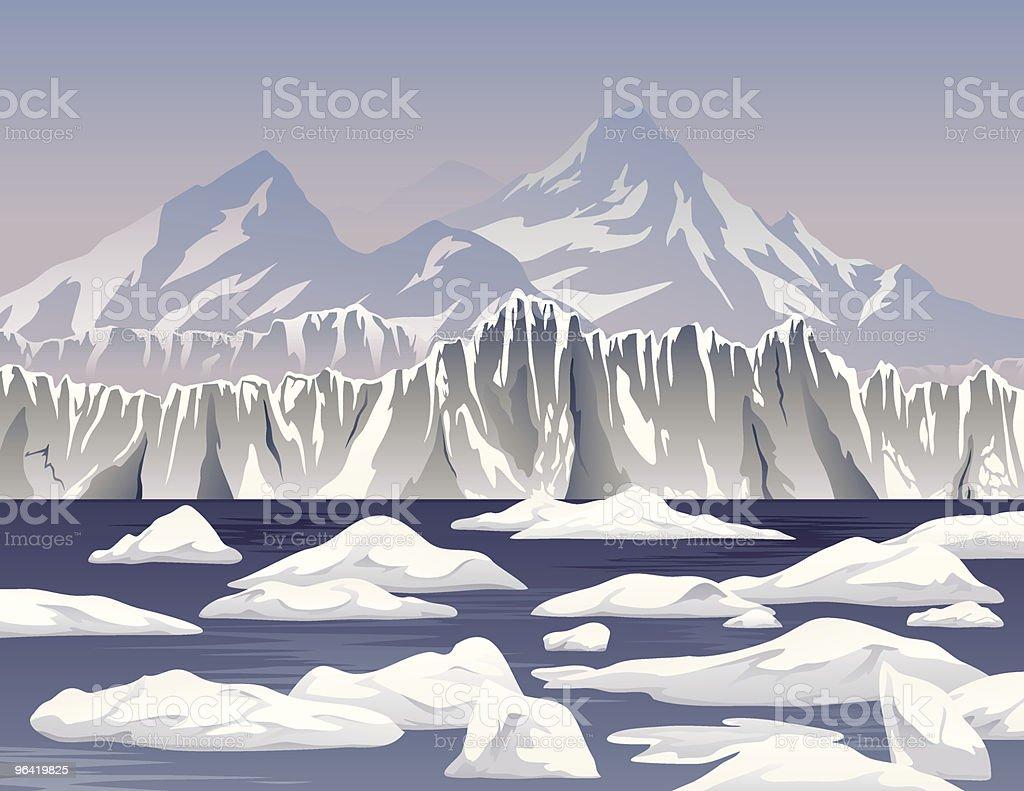 Cartoon Icebergs and Ice Shelf vector art illustration