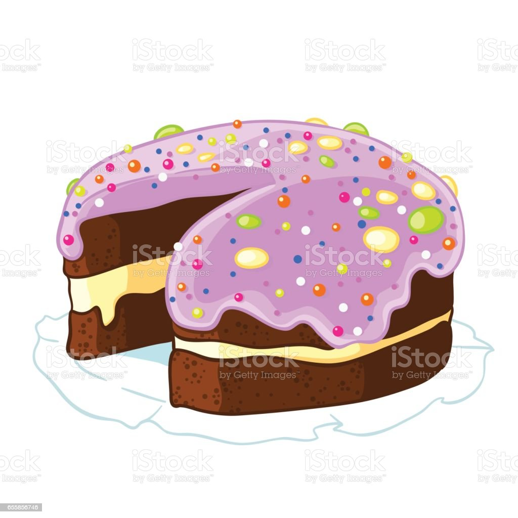 Cartoon icon incised chocolate cake with blueberry frosting and sprinkles. vector art illustration