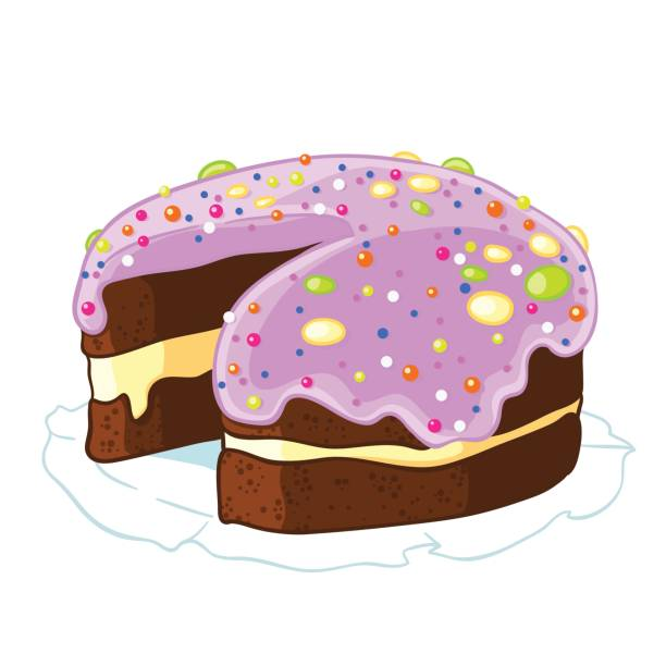 Cartoon icon incised chocolate cake with blueberry frosting and sprinkles. Cartoon icon incised chocolate cake with blueberry frosting and sprinkles. Vector illustration isolated on white. T-shirt printing. decorating a cake stock illustrations