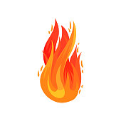 Cartoon icon of bright red-orange fire in flat style. Hot blazing flame. Decorative graphic element for advertising poster, banner or flyer. Colorful vector illustration isolated on white background.