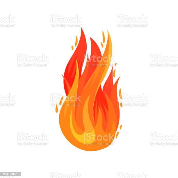 Tecknad Ikon Ljusa Rödorange Brand I Platt Stil Heta Flammande Lågan Flat Vektorelement För Reklam Affisch Banner Flyer-vektorgrafik och fler bilder på Affisch
