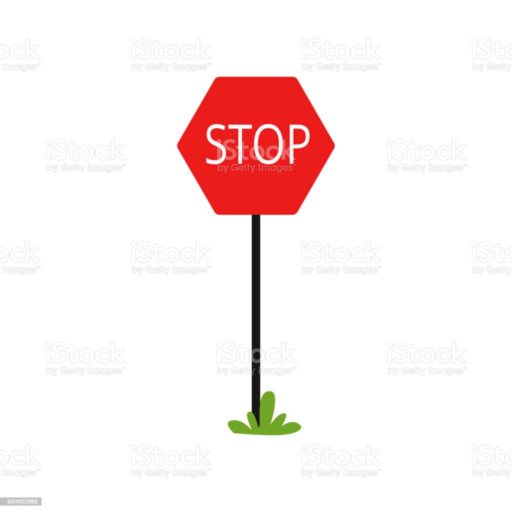 Belle Icône De Dessin Animé De Panneau De Signalisation Rouge Avec Le EU-48