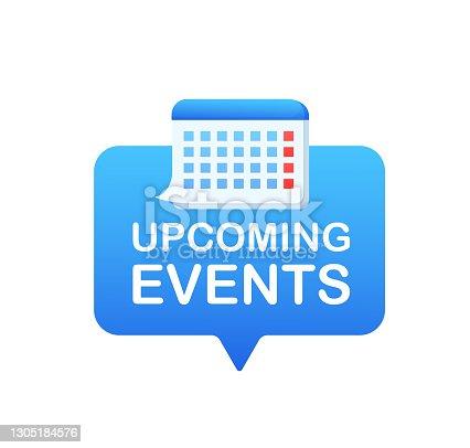 istock Cartoon icon with upcoming events. Agenda organizer. Flat vector. Calendar icon vector. 1305184576