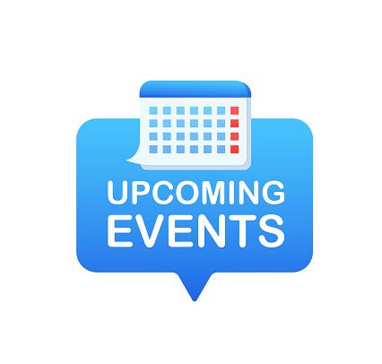 Cartoon icon with upcoming events. Agenda organizer. Flat vector. Calendar icon vector.