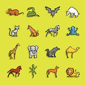 Illustration of Animals Icons. The icons are made of flat shapes, no brushes and strokes.