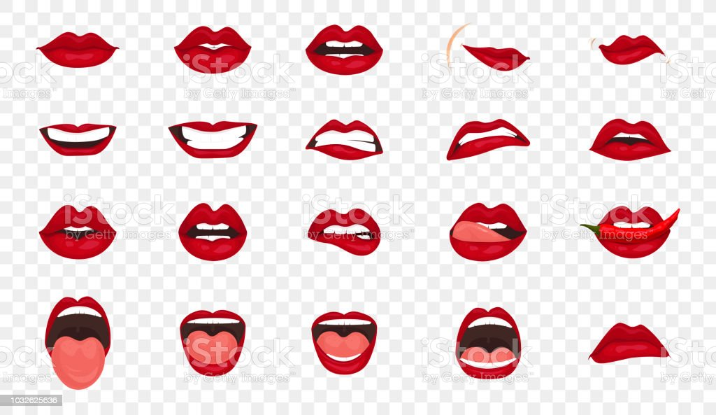 Cartoon Icons Big Set Isolated Cute Mouth Expressions Facial