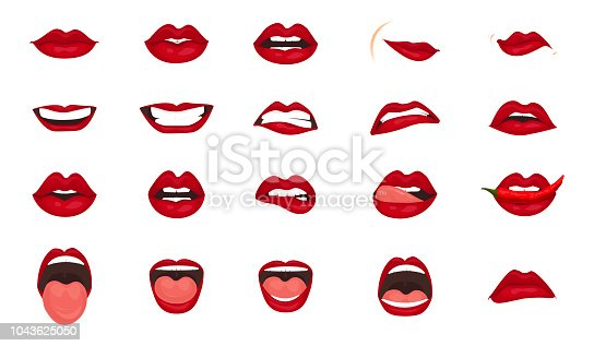 Cute mouth expressions facial gestures lips sadness rapture disappointment fear surprise joy smile cry despondency coquetry cute mouth. Cartoon icons big set isolated. Isolated vector illustration