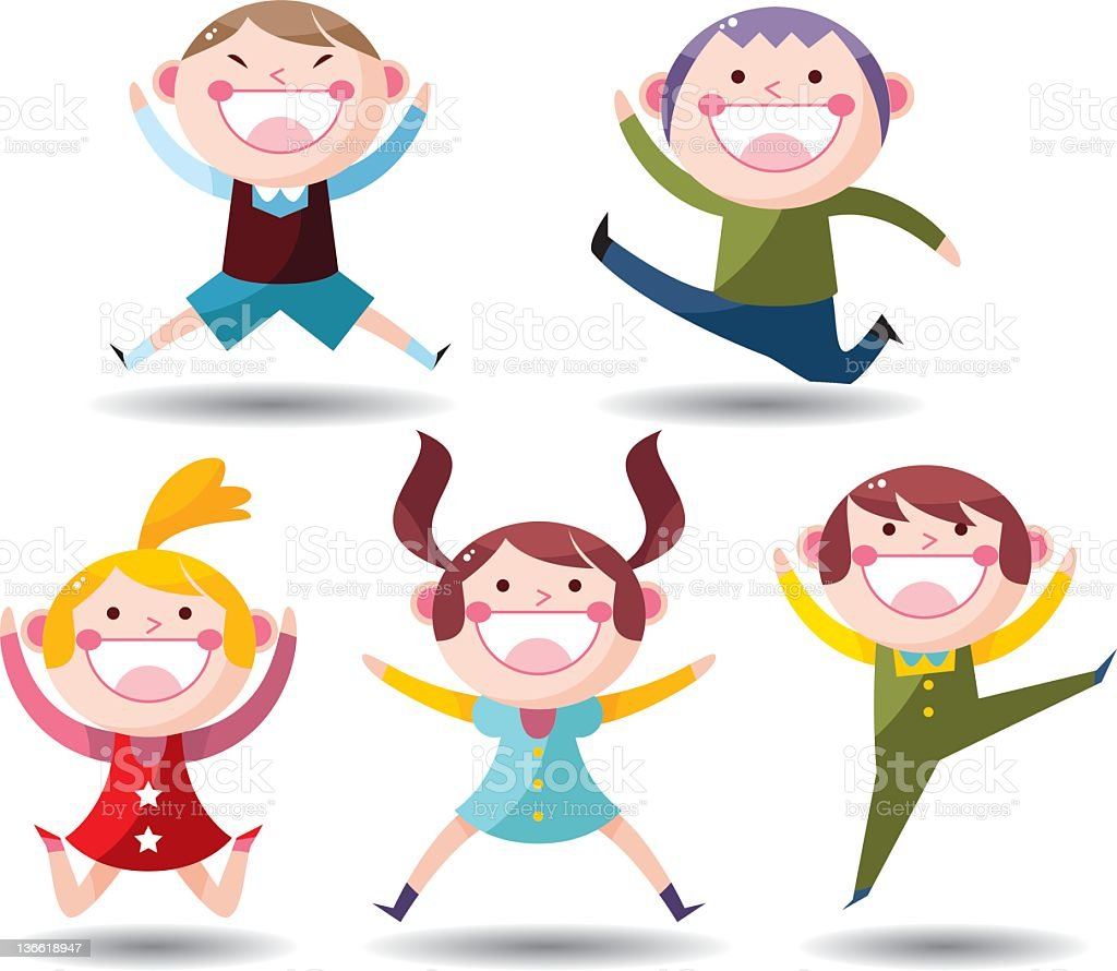 Cartoon icons of children performing different jumps vector art illustration