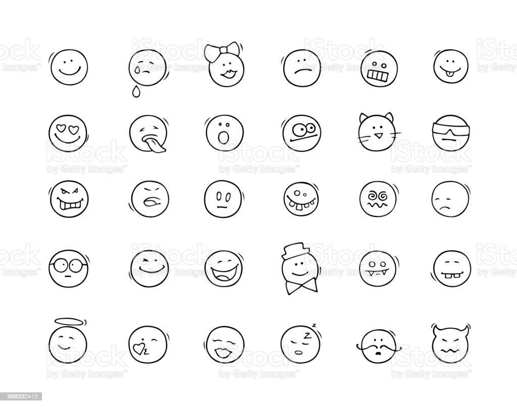 漫画のアイコンは笑顔で設定します。 ベクターアートイラスト