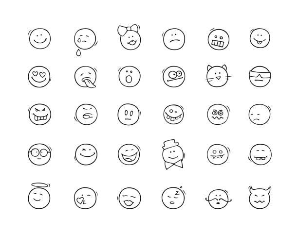 ilustraciones, imágenes clip art, dibujos animados e iconos de stock de dibujos animados iconos con sonrisas. - emoji confundido