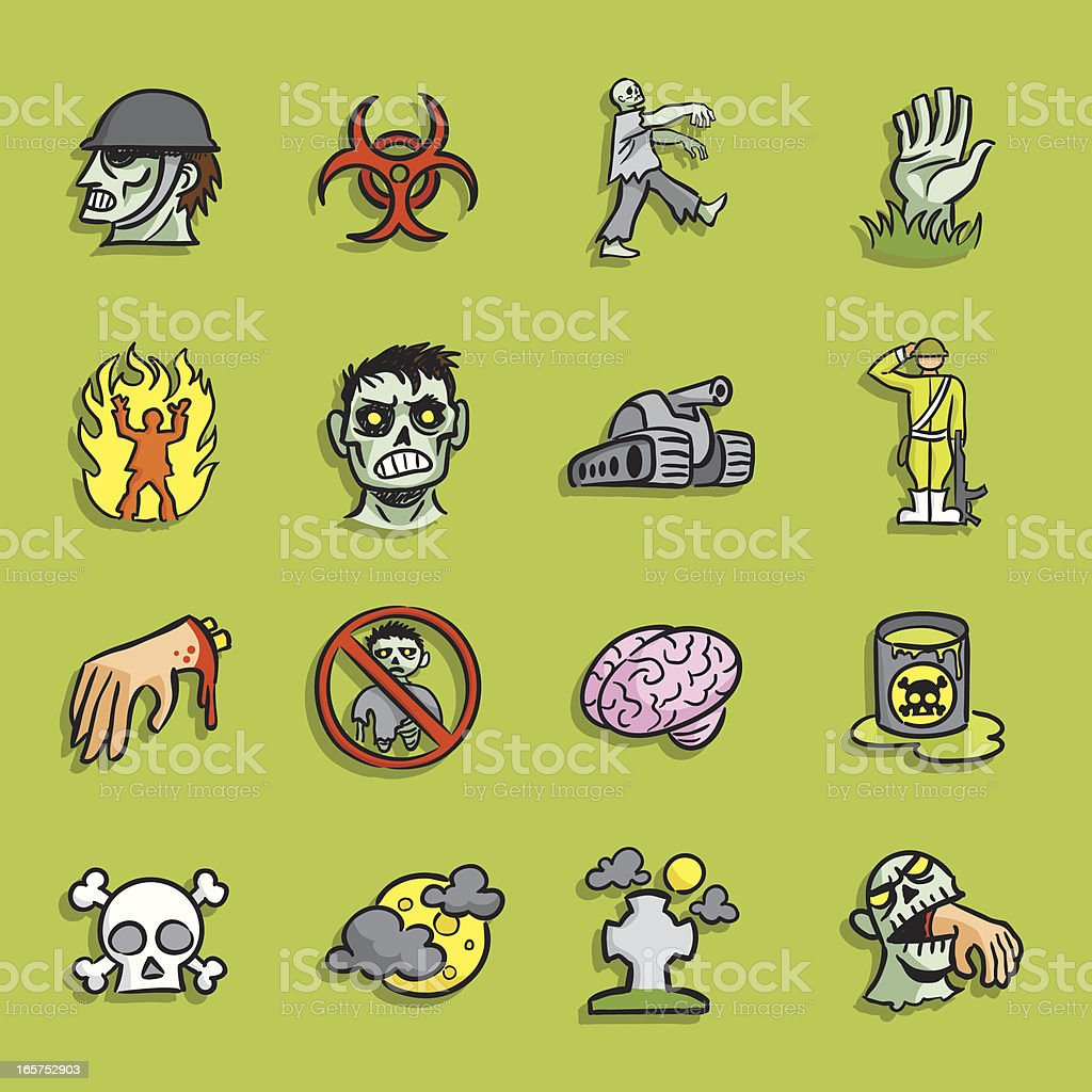 Cartoon Icons - Zombie Infestation royalty-free stock vector art