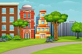 Cartoon illustration city houses facades landscape