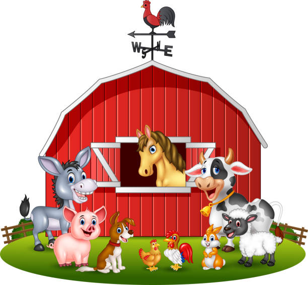 Cartoon Illustration Farm Background With Animals Vector Art