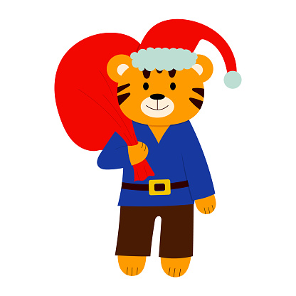 cartoon illustration for children. a tiger in a New Year's hat with a bag of gifts. vector